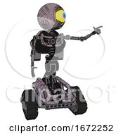 Robot Containing Giant Eyeball Head Design And Light Chest Exoshielding And Rocket Pack And No Chest Plating And Tank Tracks Dark Sketchy Pointing Left Or Pushing A Button