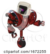 Automaton Containing Old Computer Monitor And Magenta Symbol Display And Red Buttons And Heavy Upper Chest And Heavy Mech Chest And Battle Mech Chest And Unicycle Wheel Grunge Dots Cherry Tomato Red