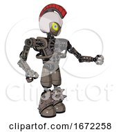 Bot Containing Grey Alien Style Head And Yellow Eyes With Blue Pupils And Galea Roman Soldier Ornament And Helmet And Heavy Upper Chest And No Chest Plating And Light Leg Exoshielding