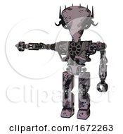 Bot Containing Flat Elongated Skull Head And Cables And Heavy Upper Chest And No Chest Plating And Prototype Exoplate Legs Smudgy Sketch Arm Out Holding Invisible Object