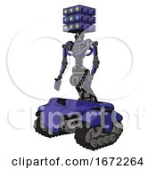 Mech Containing Dual Retro Camera Head And Cube Array Head And Light Chest Exoshielding And No Chest Plating And Tank Tracks Primary Blue Halftone Facing Right View