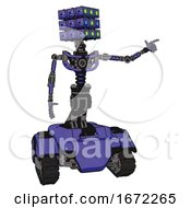 Mech Containing Dual Retro Camera Head And Cube Array Head And Light Chest Exoshielding And No Chest Plating And Tank Tracks Primary Blue Halftone Pointing Left Or Pushing A Button