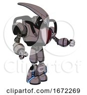 Mech Containing Flat Elongated Skull Head And Heavy Upper Chest And Red Shield Defense Design And Light Leg Exoshielding And Megneto Hovers Foot Mod Halftone Gray Interacting