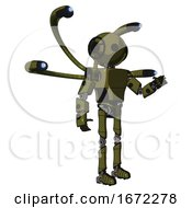 Android Containing Oval Wide Head And Light Chest Exoshielding And Prototype Exoplate Chest And Blue Eye Cam Cable Tentacles And Ultralight Foot Exosuit Army Green Halftone Interacting
