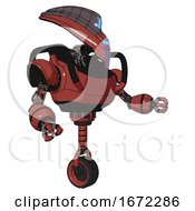 Automaton Containing Flat Elongated Skull Head And Visor And Heavy Upper Chest And Unicycle Wheel Light Brick Red Interacting