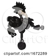 Automaton Containing Bird Skull Head And White Eyeballs And Crow Feather Design And Heavy Upper Chest And Heavy Mech Chest And Unicycle Wheel Dirty Black Interacting