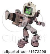 Automaton Containing Old Computer Monitor And Angry Pixels Face And Retro Futuristic Webcam And Light Chest Exoshielding And Chest Valve Crank And Stellar Jet Wing Rocket Pack