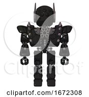 Mech Containing Round Head And Bug Eye Array And Head Winglets And Heavy Upper Chest And Heavy Mech Chest And Shoulder Spikes And Prototype Exoplate Legs Toon Black Scribbles Sketch Front View