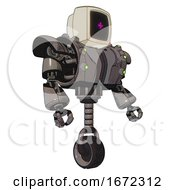Droid Containing Old Computer Monitor And Magenta Symbol Display And Heavy Upper Chest And Heavy Mech Chest And Green Cable Sockets Array And Unicycle Wheel Light Pink Beige Facing Left View