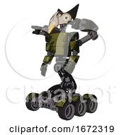 Automaton Containing Bird Skull Head And Bone Skull Eye Holes And Robobeak Design And Light Chest Exoshielding And Prototype Exoplate Chest And Minigun Back Assembly And Six Wheeler Base