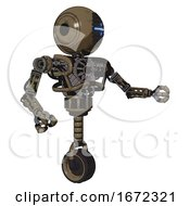 Robot Containing Round Head And Vertical Cyclops Visor And Heavy Upper Chest And No Chest Plating And Unicycle Wheel Desert Tan Painted Interacting