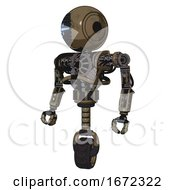 Robot Containing Round Head And Vertical Cyclops Visor And Heavy Upper Chest And No Chest Plating And Unicycle Wheel Desert Tan Painted Standing Looking Right Restful Pose