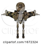 Bot Containing Round Head And Three Lens Sentinel Visor And Light Chest Exoshielding And Chest Valve Crank And Stellar Jet Wing Rocket Pack And Ultralight Foot Exosuit Desert Tan Painted T Pose