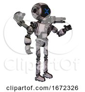 Robot Containing Digital Display Head And Wince Symbol Expression And Light Chest Exoshielding And Chest Valve Crank And Minigun Back Assembly And Ultralight Foot Exosuit Scribble Sketch