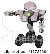 Bot Containing Dome Head And Heavy Upper Chest And Heavy Mech Chest And Green Energy Core And Tank Tracks Sketch Pad Dots Pattern Arm Out Holding Invisible Object