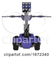 Mech Containing Dual Retro Camera Head And Cube Array Head And Light Chest Exoshielding And No Chest Plating And Tank Tracks Primary Blue Halftone T Pose
