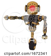 Android Containing Round Head And Red Laser Crystal Array And Head Light Gadgets And Heavy Upper Chest And No Chest Plating And Unicycle Wheel Construction Yellow Halftone