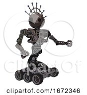 Android Containing Oval Wide Head And Techno Halo Ornament And Heavy Upper Chest And No Chest Plating And Six Wheeler Base Light Brown Interacting