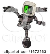 Robot Containing Old Computer Monitor And Abstract Mask Pixel Face And Light Chest Exoshielding And Cable Sash And Minigun Back Assembly And Unicycle Wheel Light Pink Beige Fight Or Defense Pose