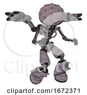 Bot Containing Metal Knucklehead Design And Light Chest Exoshielding And Minigun Back Assembly And No Chest Plating And Light Leg Exoshielding And Spike Foot Mod Dark Sketch Fight Or Defense Pose