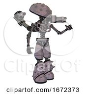 Bot Containing Metal Knucklehead Design And Light Chest Exoshielding And Minigun Back Assembly And No Chest Plating And Light Leg Exoshielding And Spike Foot Mod Dark Sketch Interacting