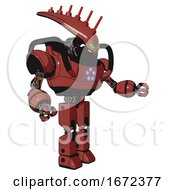 Mech Containing Flat Elongated Skull Head And Heavy Upper Chest And Circle Of Blue Leds And Prototype Exoplate Legs Light Brick Red Interacting
