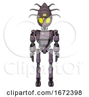 Automaton Containing Grey Alien Style Head And Yellow Eyes And Eyeball Creature Crown And Light Chest Exoshielding And Cable Sash And Ultralight Foot Exosuit Lilac Metal Front View