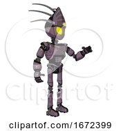 Automaton Containing Grey Alien Style Head And Yellow Eyes And Eyeball Creature Crown And Light Chest Exoshielding And Cable Sash And Ultralight Foot Exosuit Lilac Metal Interacting
