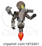 Bot Containing Grey Alien Style Head And Yellow Eyes With Blue Pupils And Light Chest Exoshielding And Prototype Exoplate Chest And Minigun Back Assembly And Jet Propulsion Patent Khaki Metal