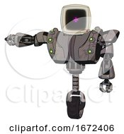 Droid Containing Old Computer Monitor And Magenta Symbol Display And Heavy Upper Chest And Heavy Mech Chest And Green Cable Sockets Array And Unicycle Wheel Light Pink Beige