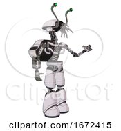 Cyborg Containing Dual Retro Camera Head And Shrimp Head And Light Chest Exoshielding And Rocket Pack And No Chest Plating And Light Leg Exoshielding White Halftone Toon Interacting