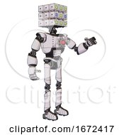 Bot Containing Dual Retro Camera Head And Cube Array Head And Light Chest Exoshielding And Red Energy Core And Ultralight Foot Exosuit White Halftone Toon Interacting