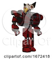Droid Containing Bird Skull Head And Red Line Eyes And Robobeak Design And Heavy Upper Chest And Heavy Mech Chest And Barbed Wire Chest Armor Cage And Prototype Exoplate Legs Grunge Dots Dark Red