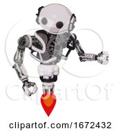 Cyborg Containing Oval Wide Head And Beady Black Eyes And Heavy Upper Chest And No Chest Plating And Jet Propulsion White Halftone Toon Fight Or Defense Pose