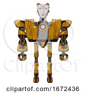 Mech Containing Humanoid Face Mask And Spiral Design And Heavy Upper Chest And Heavy Mech Chest And Blue Energy Fission Element Chest And Ultralight Foot Exosuit Worn Construction Yellow Front View