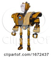 Mech Containing Humanoid Face Mask And Spiral Design And Heavy Upper Chest And Heavy Mech Chest And Blue Energy Fission Element Chest And Ultralight Foot Exosuit Worn Construction Yellow