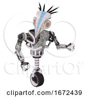 Bot Containing Bird Skull Head And Red Led Circle Eyes And Head Shield Design And Heavy Upper Chest And No Chest Plating And Unicycle Wheel White Halftone Toon Fight Or Defense Pose