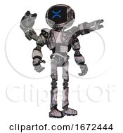 Robot Containing Digital Display Head And Wince Symbol Expression And Light Chest Exoshielding And Chest Valve Crank And Minigun Back Assembly And Ultralight Foot Exosuit Scribble Sketch Hero Pose