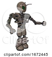 Mech Containing Grey Alien Style Head And Led Array Eyes And Bug Antennas And Heavy Upper Chest And No Chest Plating And Light Leg Exoshielding And Spike Foot Mod Patent Khaki Metal Interacting
