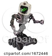 Cyborg Containing Old Computer Monitor And Double Backslash Pixel Design And Retro Futuristic Webcam And Heavy Upper Chest And No Chest Plating And Six Wheeler Base Gray Metal