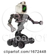 Cyborg Containing Old Computer Monitor And Double Backslash Pixel Design And Retro Futuristic Webcam And Heavy Upper Chest And No Chest Plating And Six Wheeler Base Gray Metal Interacting
