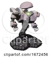 Bot Containing Dome Head And Heavy Upper Chest And Heavy Mech Chest And Green Energy Core And Tank Tracks Sketch Pad Dots Pattern Hero Pose