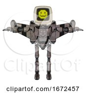 Robot Containing Old Computer Monitor And Pixel Design Of Yellow Happy Face And Light Chest Exoshielding And Chest Valve Crank And Stellar Jet Wing Rocket Pack And Ultralight Foot Exosuit