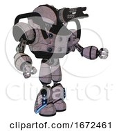 Bot Containing Gatling Gun Face Design And Heavy Upper Chest And Chest Energy Sockets And Light Leg Exoshielding And Megneto Hovers Foot Mod Dark Sketch Interacting