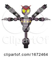 Automaton Containing Grey Alien Style Head And Yellow Eyes And Light Chest Exoshielding And Yellow Chest Lights And Minigun Back Assembly And Unicycle Wheel Lilac Metal T Pose