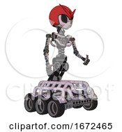 Droid Containing Grey Alien Style Head And Black Eyes And Red V And Red Helmet And Light Chest Exoshielding And No Chest Plating And Six Wheeler Base Sketch Pad Doodle Lines Facing Left View