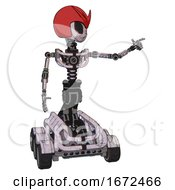 Droid Containing Grey Alien Style Head And Black Eyes And Red V And Red Helmet And Light Chest Exoshielding And No Chest Plating And Six Wheeler Base Sketch Pad Doodle Lines