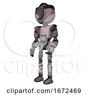 Cyborg Containing Green Dot Eye Corn Row Plastic Hair And Light Chest Exoshielding And Red Energy Core And Ultralight Foot Exosuit Dark Dirty Scrawl Sketch Facing Right View