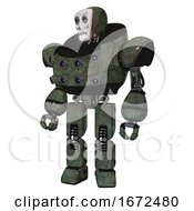 Bot Containing Humanoid Face Mask And Skeleton War Paint And Heavy Upper Chest And Chest Energy Sockets And Prototype Exoplate Legs Old Corroded Copper Standing Looking Right Restful Pose