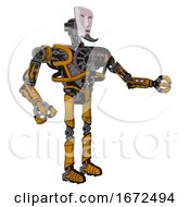 Droid Containing Humanoid Face Mask And Heavy Upper Chest And No Chest Plating And Ultralight Foot Exosuit Worn Construction Yellow Interacting
